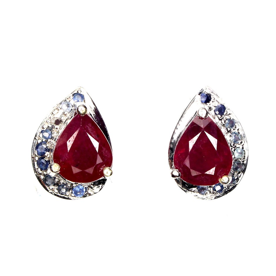 One Of A Kind Genuine Ruby & Sapphire Stud Earrings.