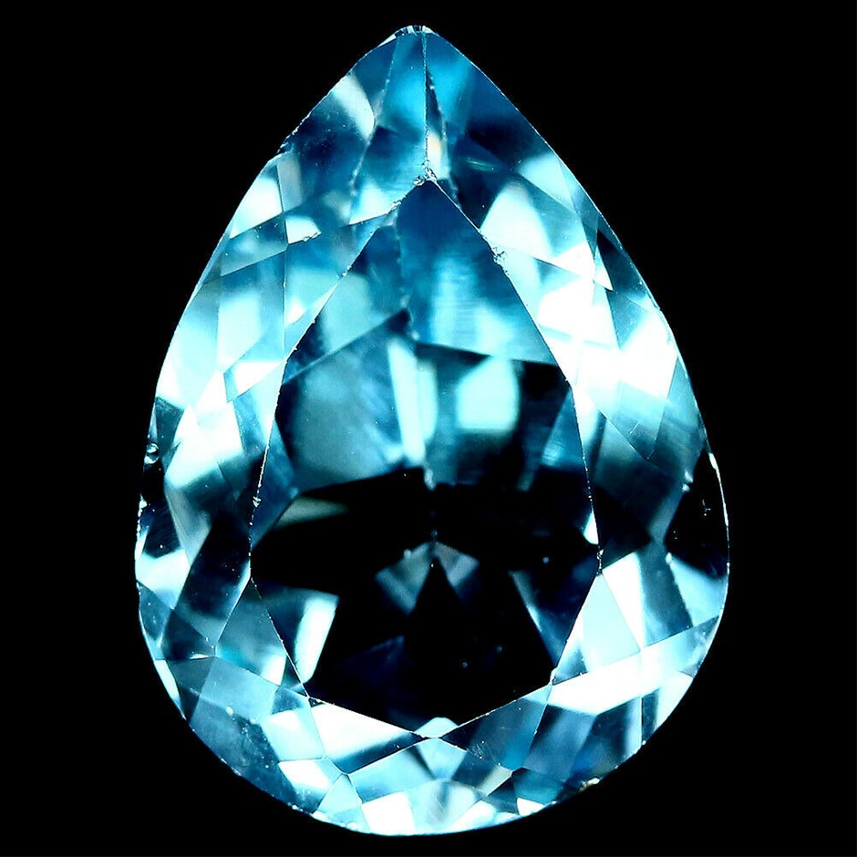 8.28 ct. Pear Facet Cut Sky Blue Topaz