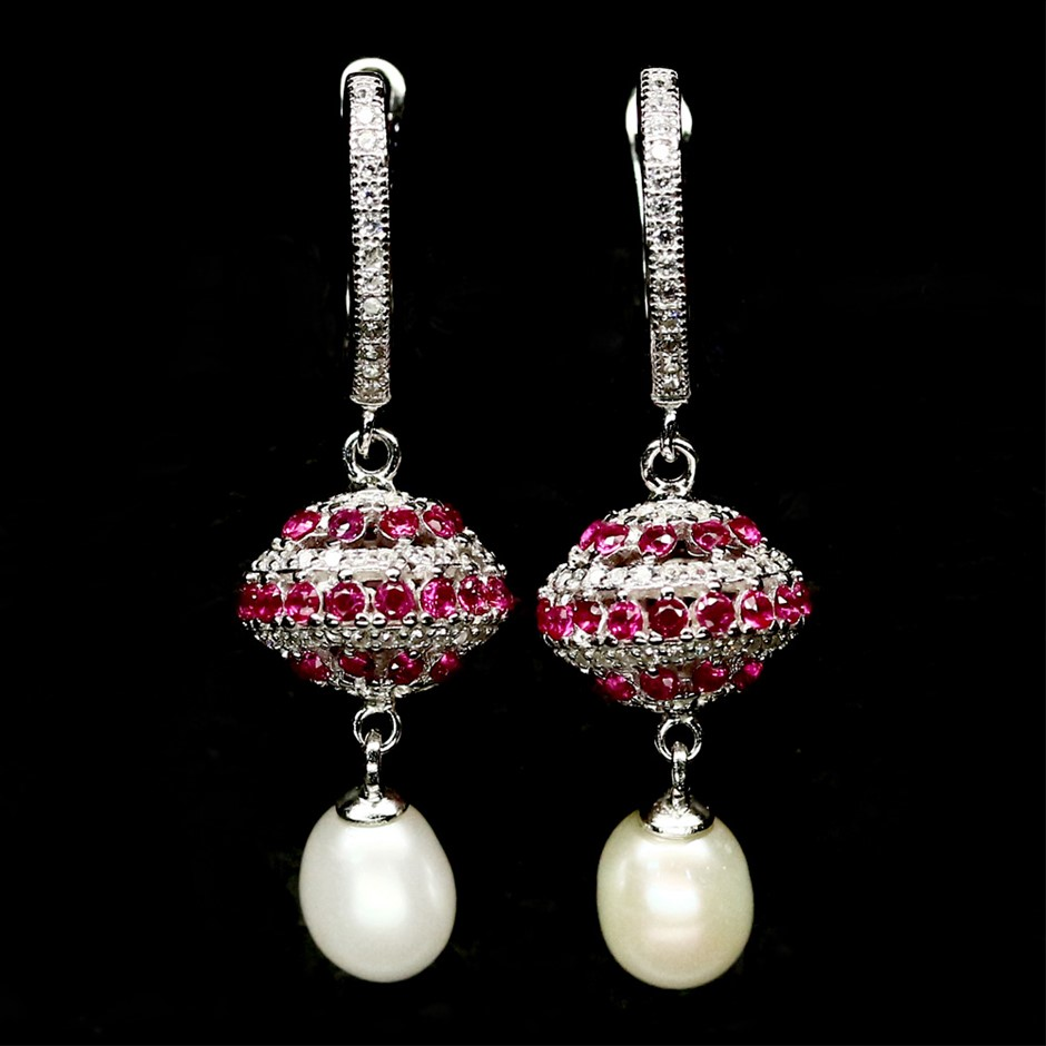 Amazing Genuine Pearl & czs Drop Earrings
