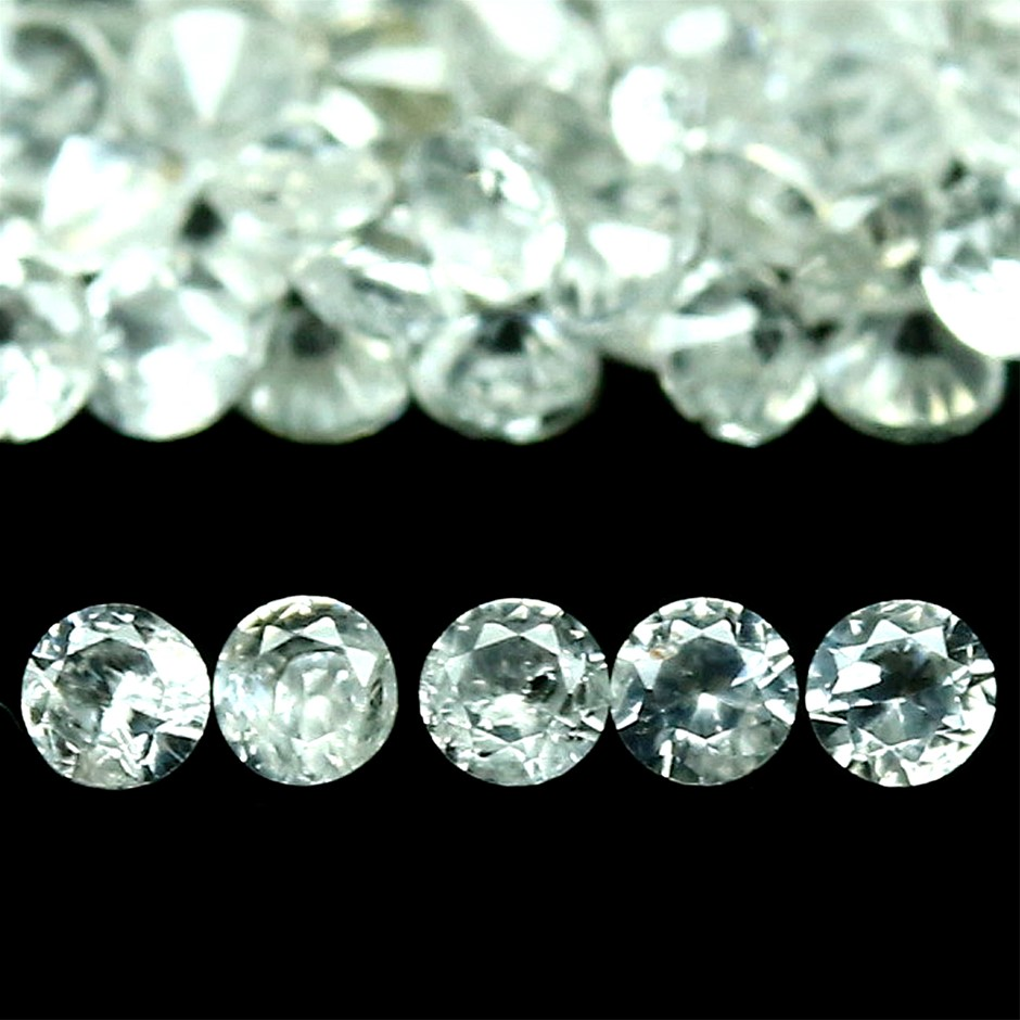 2.39ct. 129 Piece Genuine Diamond Facet White Zircon