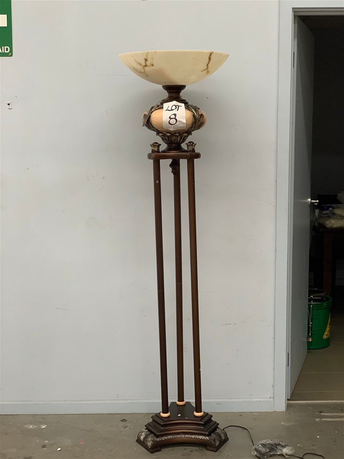 6ft Wooden 3 Tiered Gold and Cream Lamp with Ceramic Ball Shade