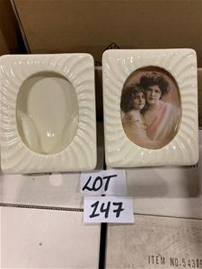 Qty 38 x Cream Porcelain Frames, ribbed.