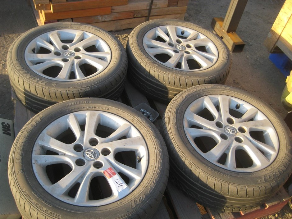 Tyres. 4 x Car Tyres on mags