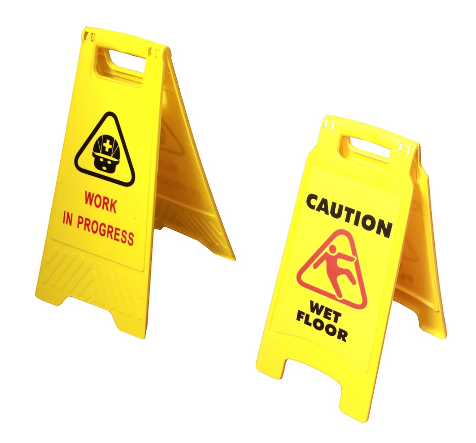 2 x Safety Sign Cleaning & Work in Progress Hi-Vis Yellow