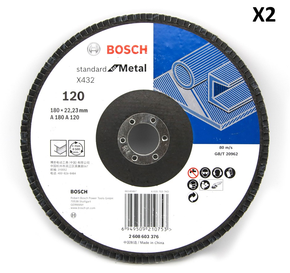 2 x Bosch 180mm Metal Flap Disc Sanding wheel 120 Grit