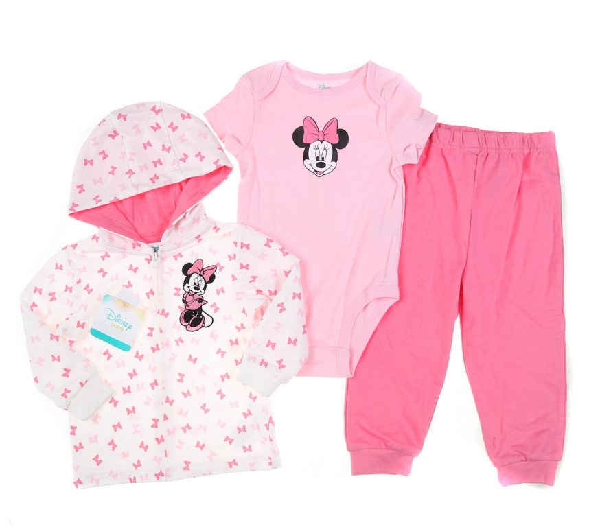 DISNEY 3pc MINNIE MOUSE Clothing Set, Size 24M, Incl; Onesie, Trackpants &