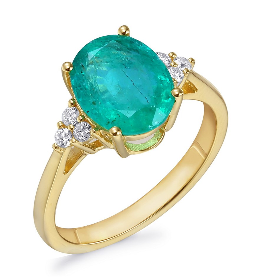 18ct Yellow Gold, 2.63ct Emerald and Diamond Ring