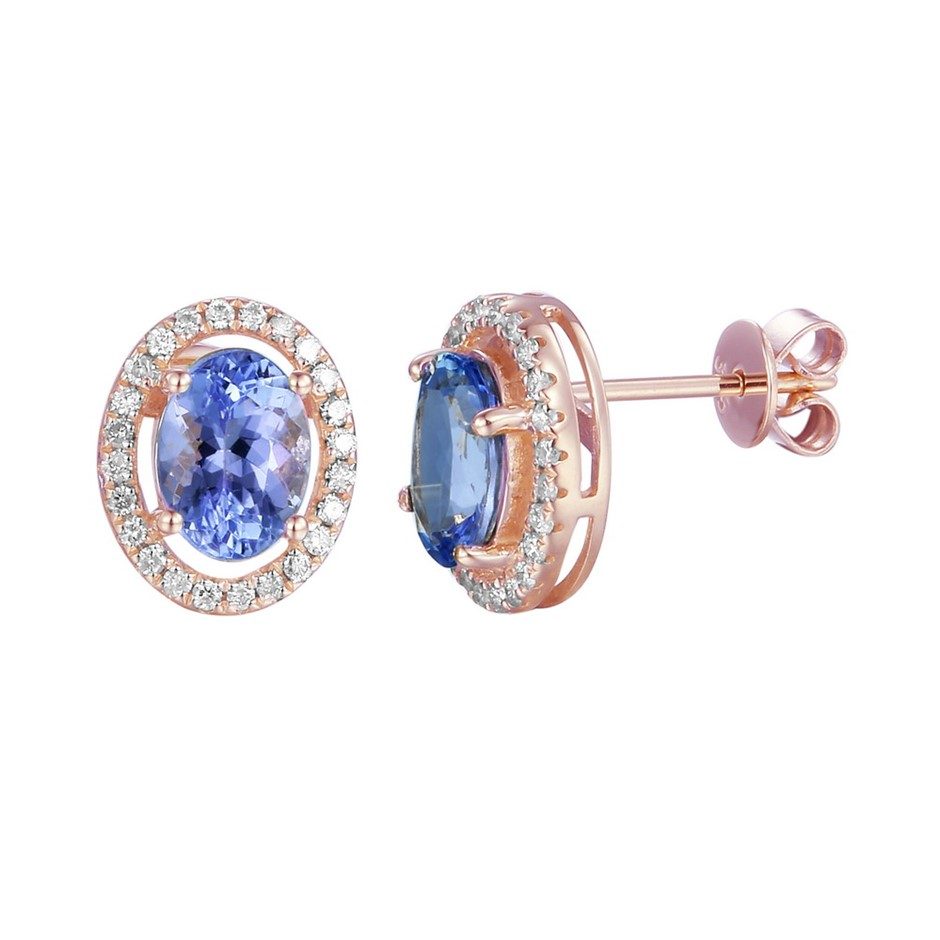 9ct Rose Gold, 2.19ct Tanzanite and Diamond Earring