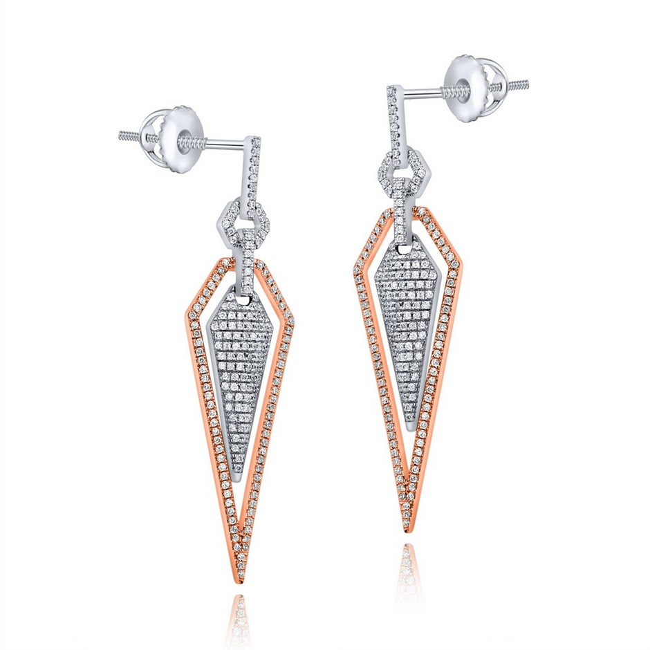 9ct White and Rose Gold, 0.54ct Diamond Earring