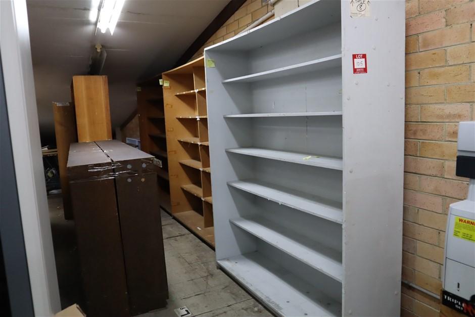 9 x Timber Shelf Units
