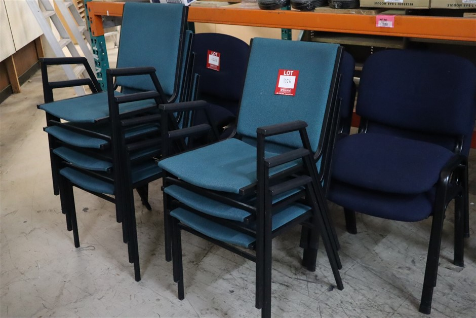 7 x Metal Framed Stacking Chair in Blue
