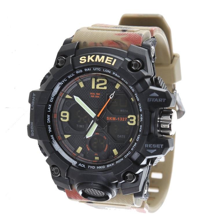 SKMEI Men`s Multi-Function Sports Wrist Watch with PU Camo Band, 49mm Dial