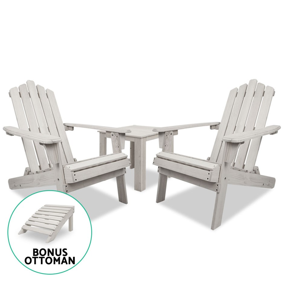 Gardeon Outdoor Setting Beach Chairs Table Wooden Adirondack Patio Lounge