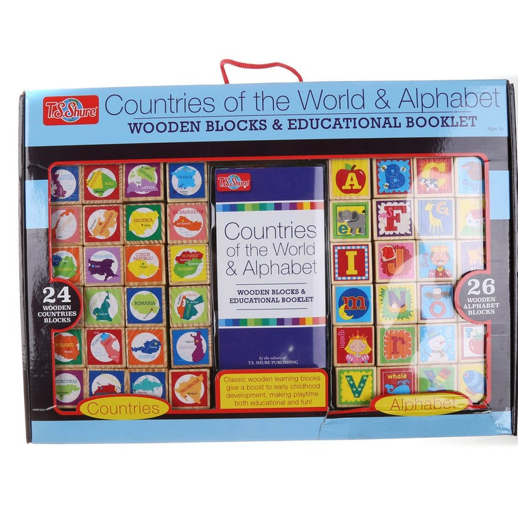 Set of 24 x Wooden Block Countries of the World & Alphabet. (SN:CC42025) (2