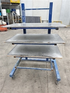 Four Tier steel rack on castors surface