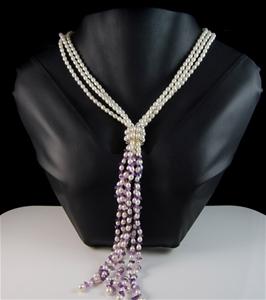 Spectacular Pearl & Amethyst Lariat Neck