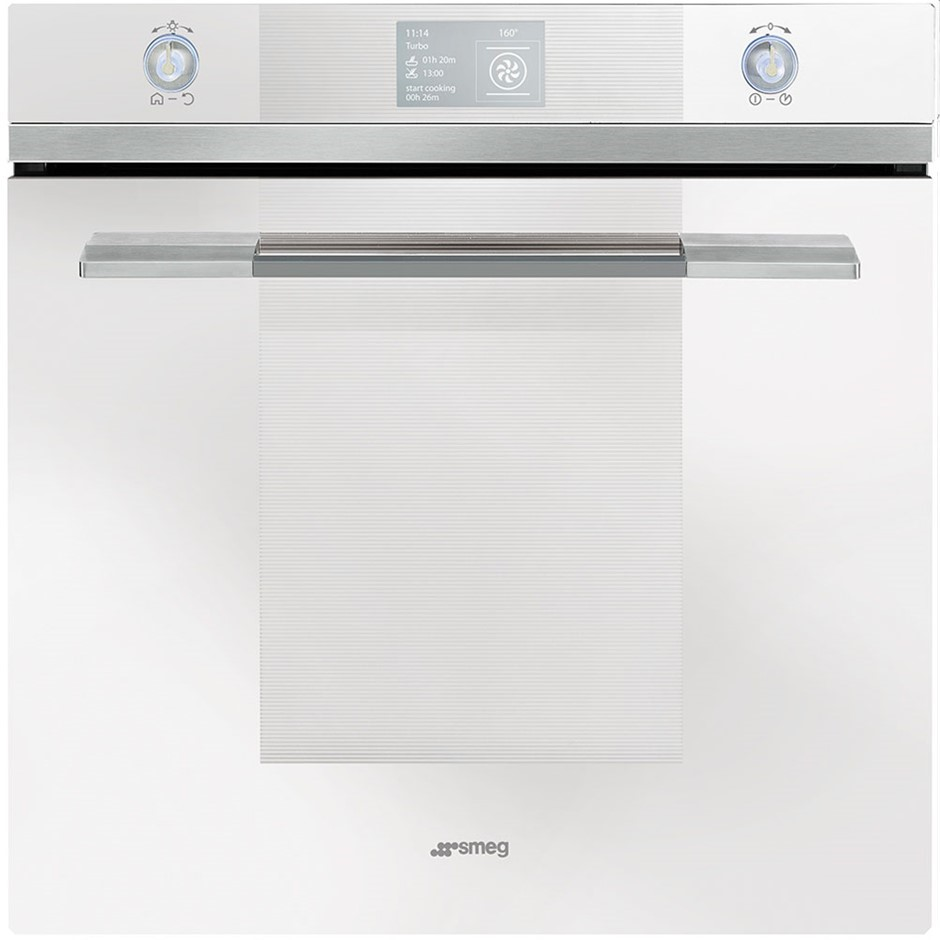Smeg 60cm White Linear Thermoseal Pyrolytic Wall Oven, Model: SFPA6130B