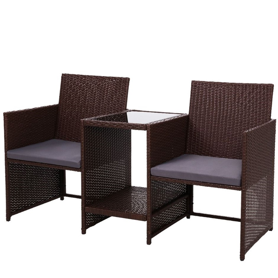 Gardeon Outdoor Setting Wicker Loveseat Bistro Set Patio Furniture Brown