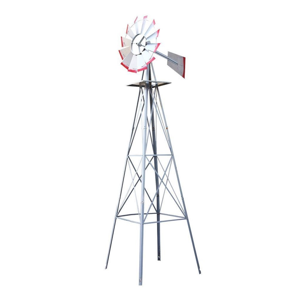 Garden Windmill 6FT 180cm Metal Ornaments Outdoor Decor Wind Will