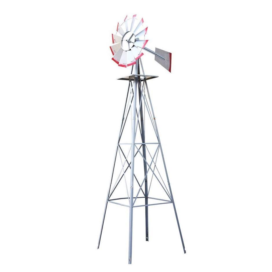 Garden Windmill 6FT 180cm Metal Ornaments Outdoor Decor Wind Will