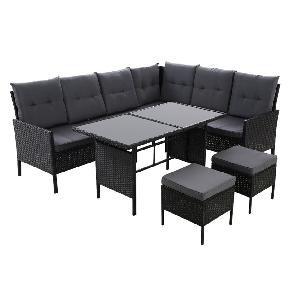 Outdoor Sofa Set Patio Furniture Lounge Setting Chair Table Wicker Black