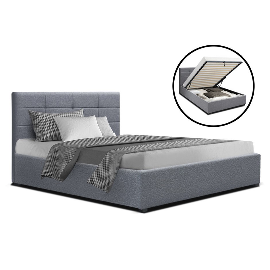 Artiss LISA King Single Size Gas Lift Bed Frame Base Storage Mattress Grey