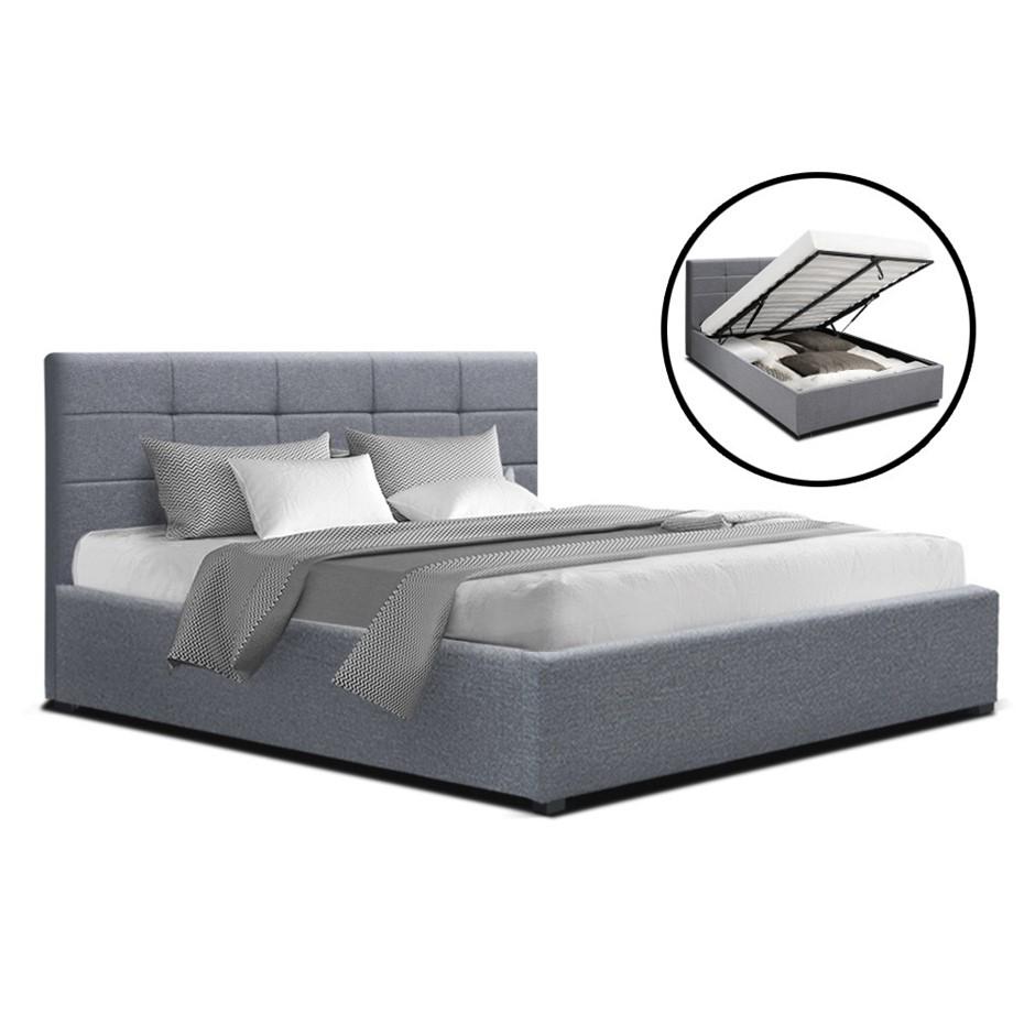 Artiss LISA Queen Size Gas Lift Bed Frame Base Storage Mattress Grey