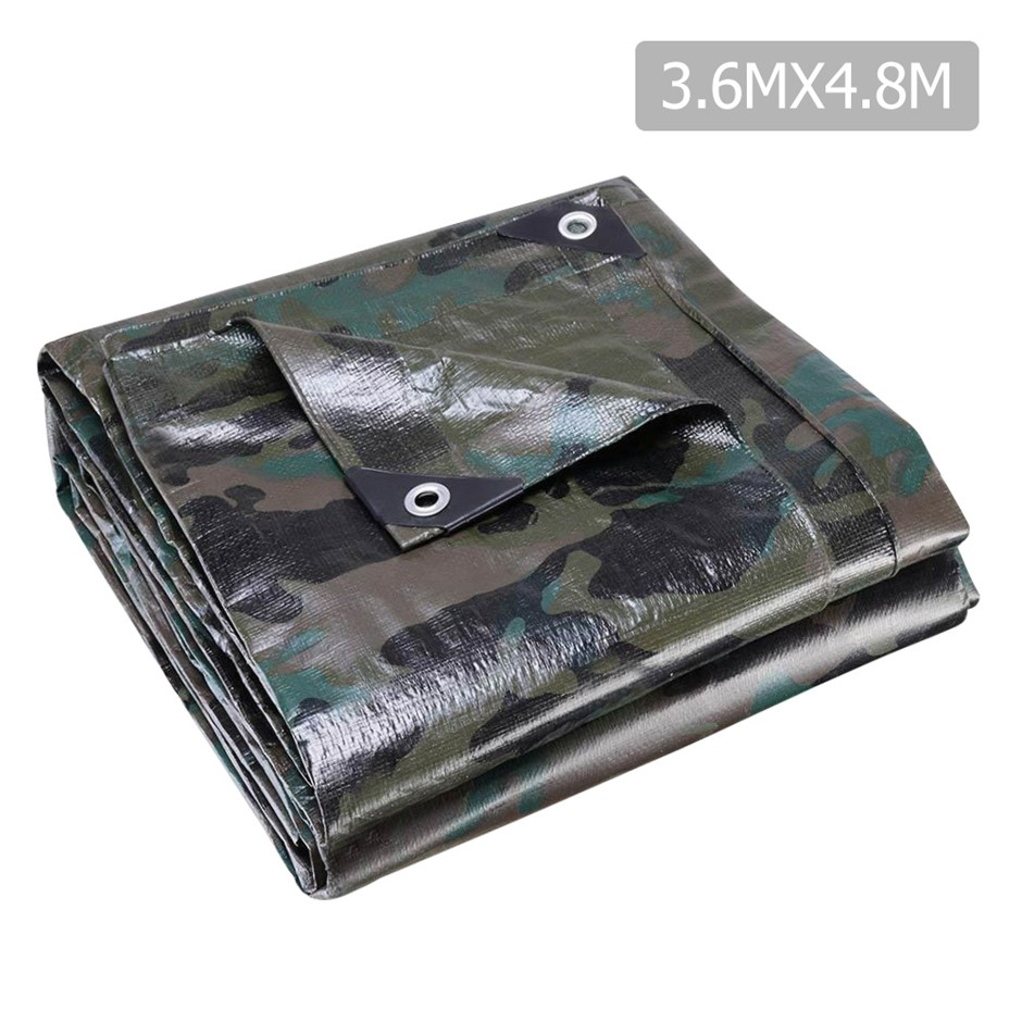 Instahut 3.6x4.8m Canvas Heavy Duty Camping Poly Tarp Tarpaulin Camouflage