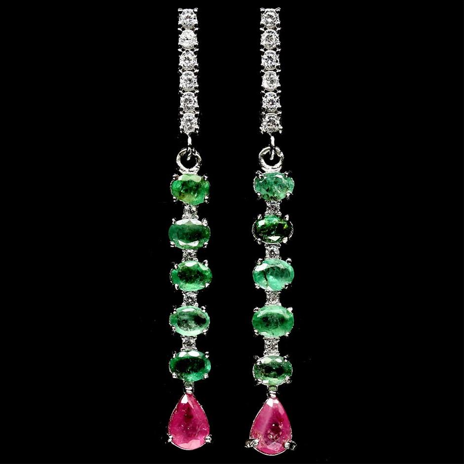 Stunning Genuine Emerald & Ruby Drop Earrings