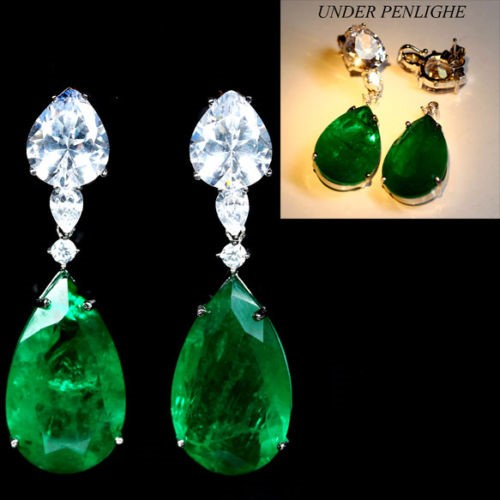Big Pear Forest Green Doublet Emerald Earrings.
