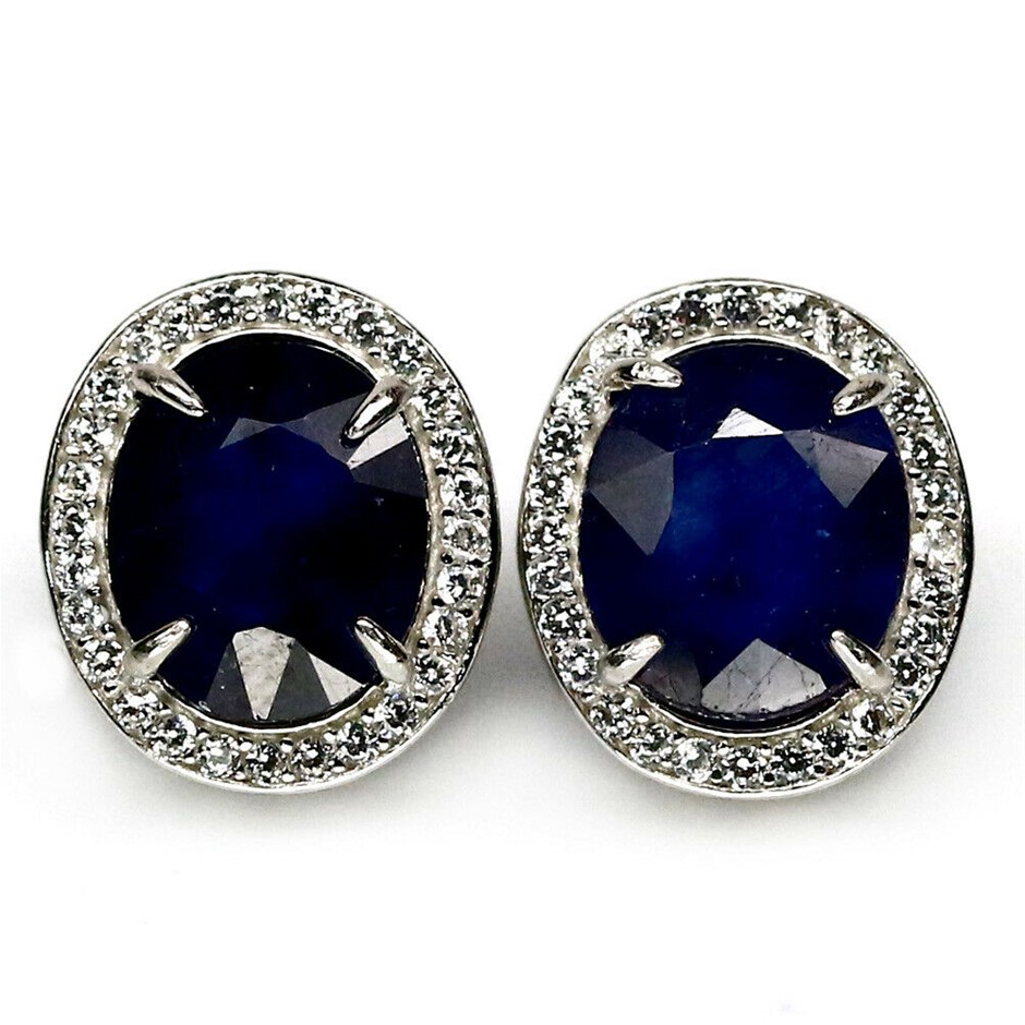 Beautiful Oval Cut Blue Sapphire Earrings.