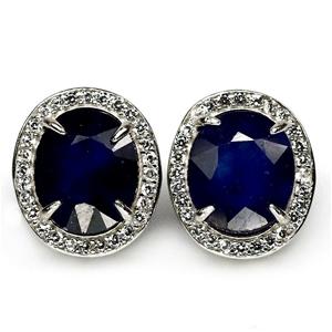 Beautiful Oval Cut Blue Sapphire Earring