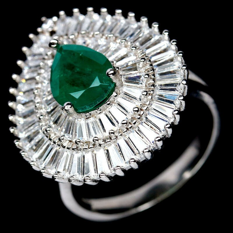 Pear Cut Forest Green Doublet Emerald Ring. Size 'N'