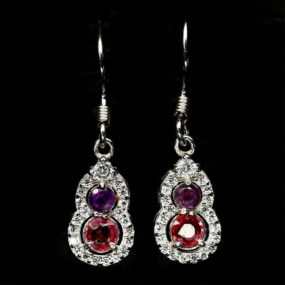 Stunning Pink Sapphire & Amethyst Earrings.