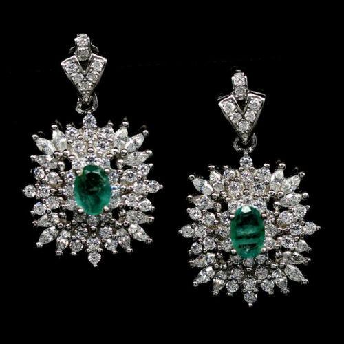 Sparkling Pear Cut Green Zambian Emerald Earrings.