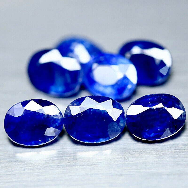 14.76 ct. (Approx. 7pc) Oval Facet Cut Blue Sapphires