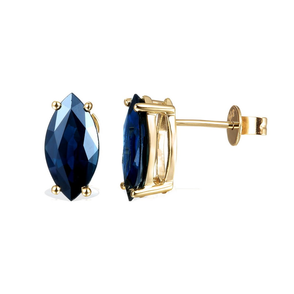 9ct Yellow Gold, 4.27ct Blue Sapphire Earring