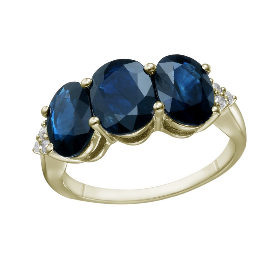 9ct Yellow Gold, 4.89ct Blue Sapphire and Diamond Ring