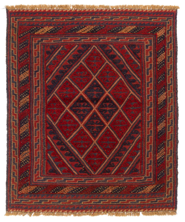 Afghan Meshwani mixed weave 100% wool hand knotted rug Size (cm):105x114