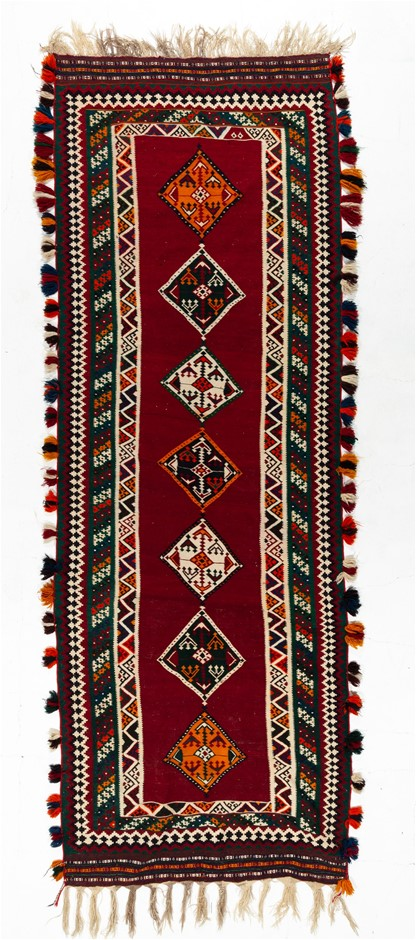 Persian Flat weave kilim 100% wool pile hand knotted rug Size (cm): 131x370