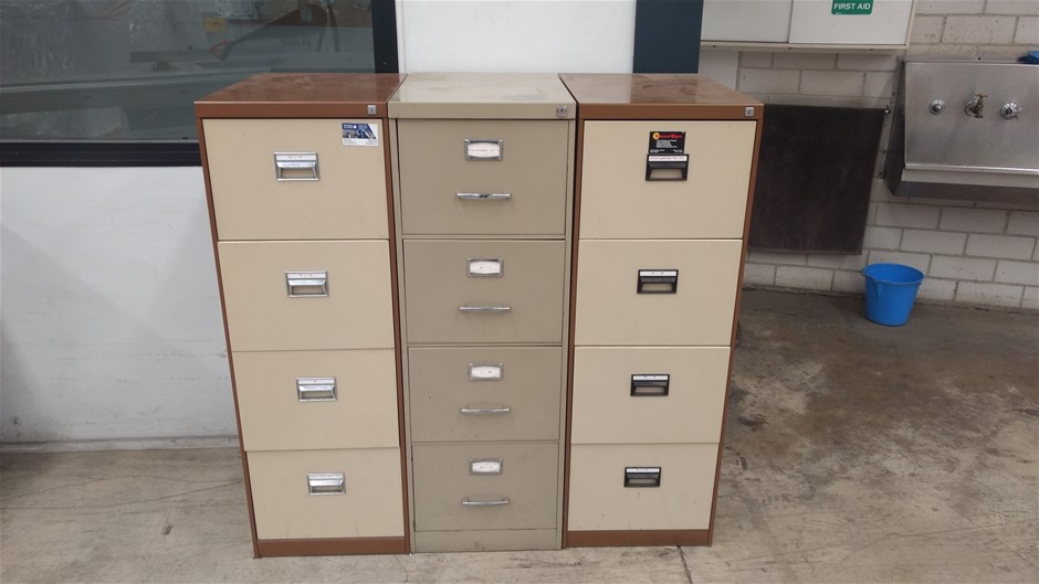 Three Metal Filing Cabinets - 4 Draw Cabinets (266529-3)