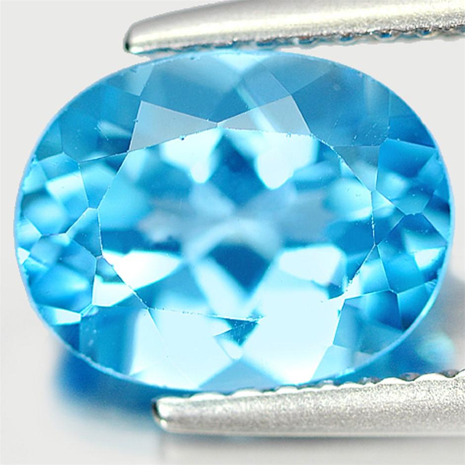 2.40ct. Genuine Oval facet Blue Topaz