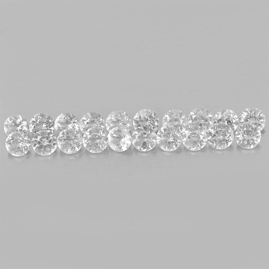 5.66ct. Genuine Diamond Cut White Topaz 20 Piece