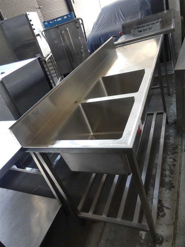 Stainless Steel Double Sink Washing-up Bench