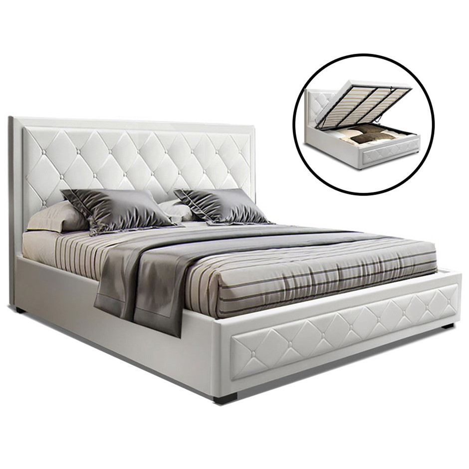 Artiss TIYO King Size Gas Lift Bed Frame Mattress White Leather