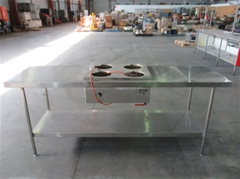 Stainless Steel Bench With Food Warmer