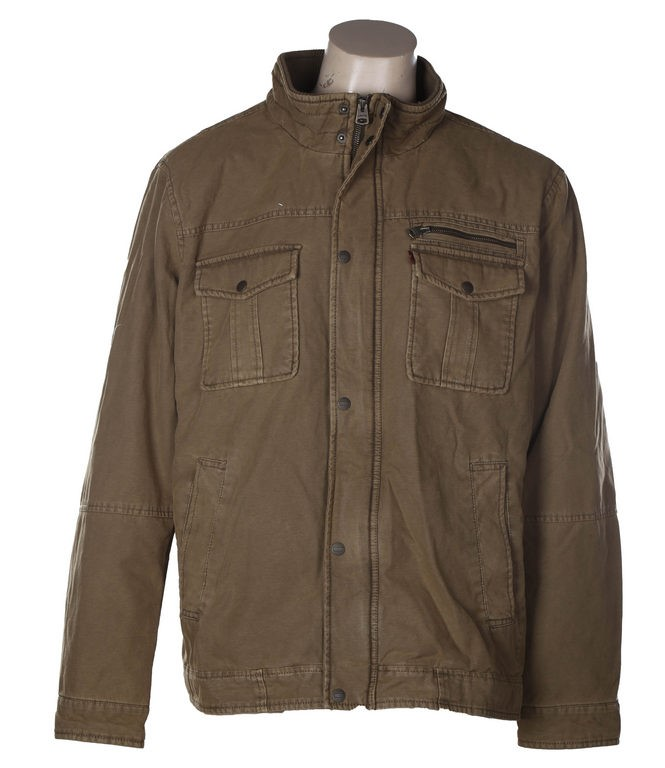 LEVI`S Men`s Washed Cotton Full Zip Jacket, Size S, Ribbed Collar & Two Poc