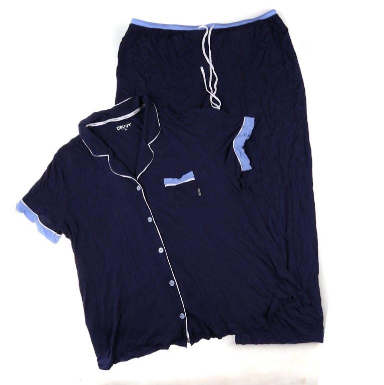 DKNY Women`s Notch Collar and Pant Pajama Set, Size XXL, Viscose/Elastane,