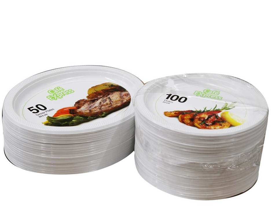 Approx. 300 x CAFE EXPRESS Round & Oval Disposable Plastic Dinner Plates. (