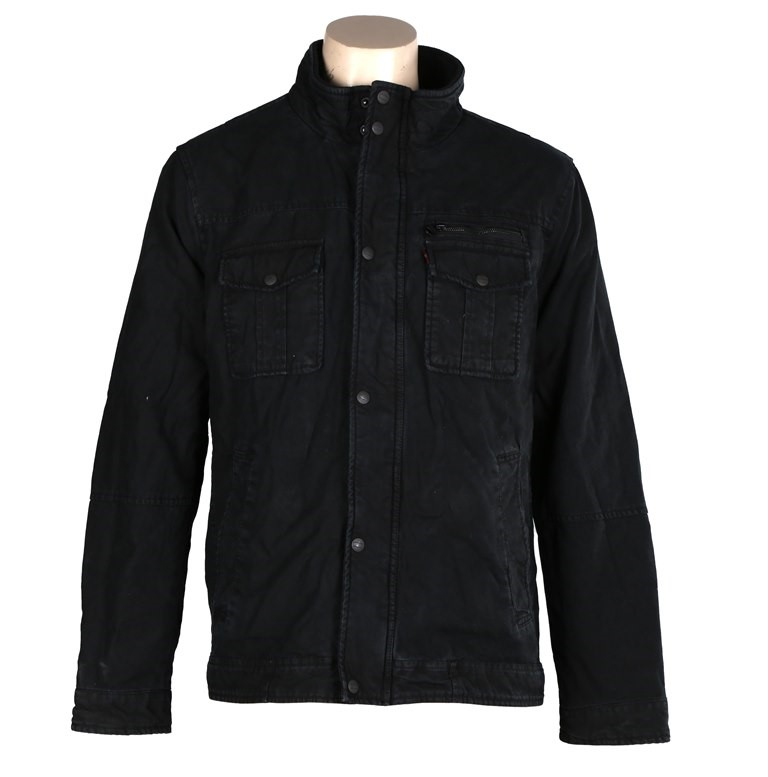 LEVI`S Men`s Washed Cotton Full Zip Jacket (w/ Ribbed Collar & Two Pockets